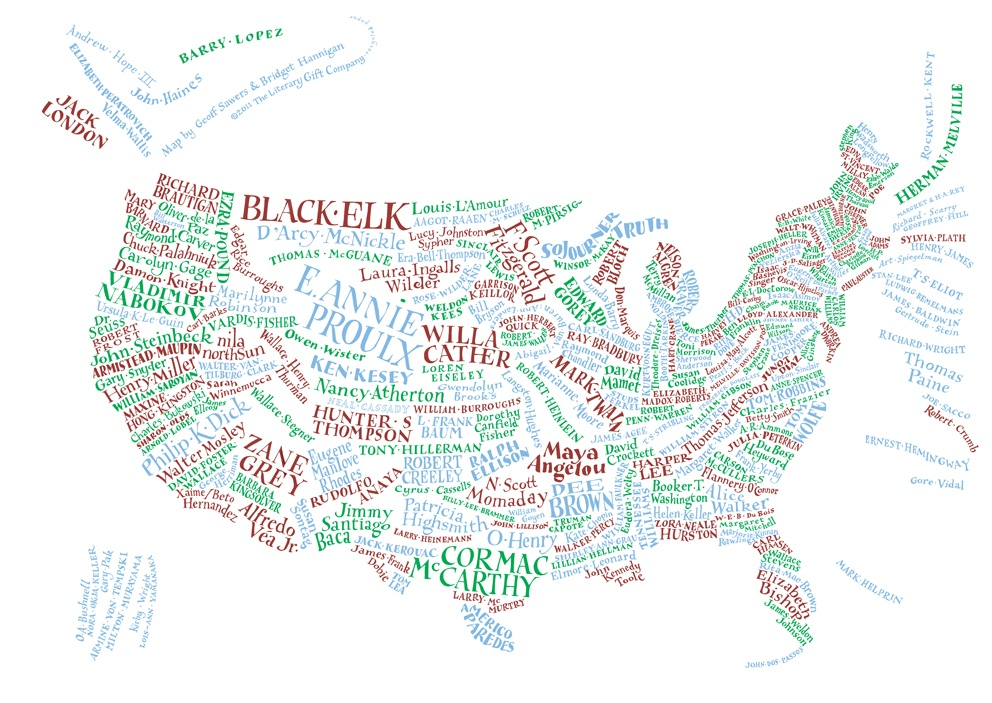 Literary America The American Writers Museum - Map of america with states