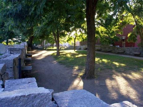 Trees and stones at the Nathaniel Hawthorne memorial