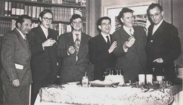 Stuart Brent with Studs Terkel, Robert Parrish, Stephen Spender, Jack Conroy, Nelson Algren