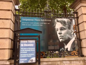 Exterior advertisement for the Yeats exhibit at the National Library of Ireland