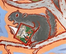 A gray squirrel in the mural at the AWM reading Perez and Martina