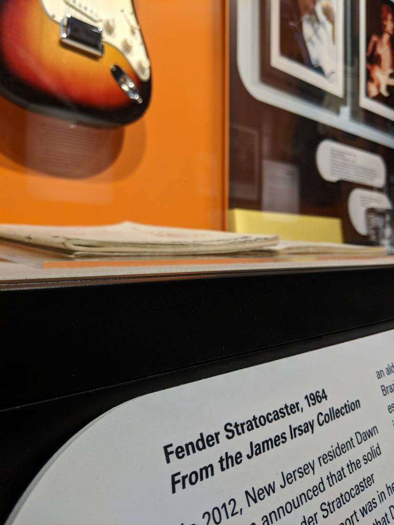 Fender Stratocaster from the James Irsay Collection on display at the American Writers Museum
