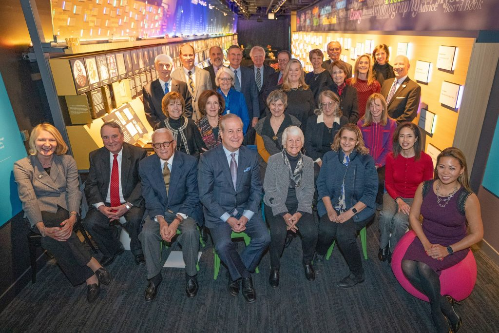 American Writers Museum Board of Directors group photo in the Nation of Writers gallery in December 2018
