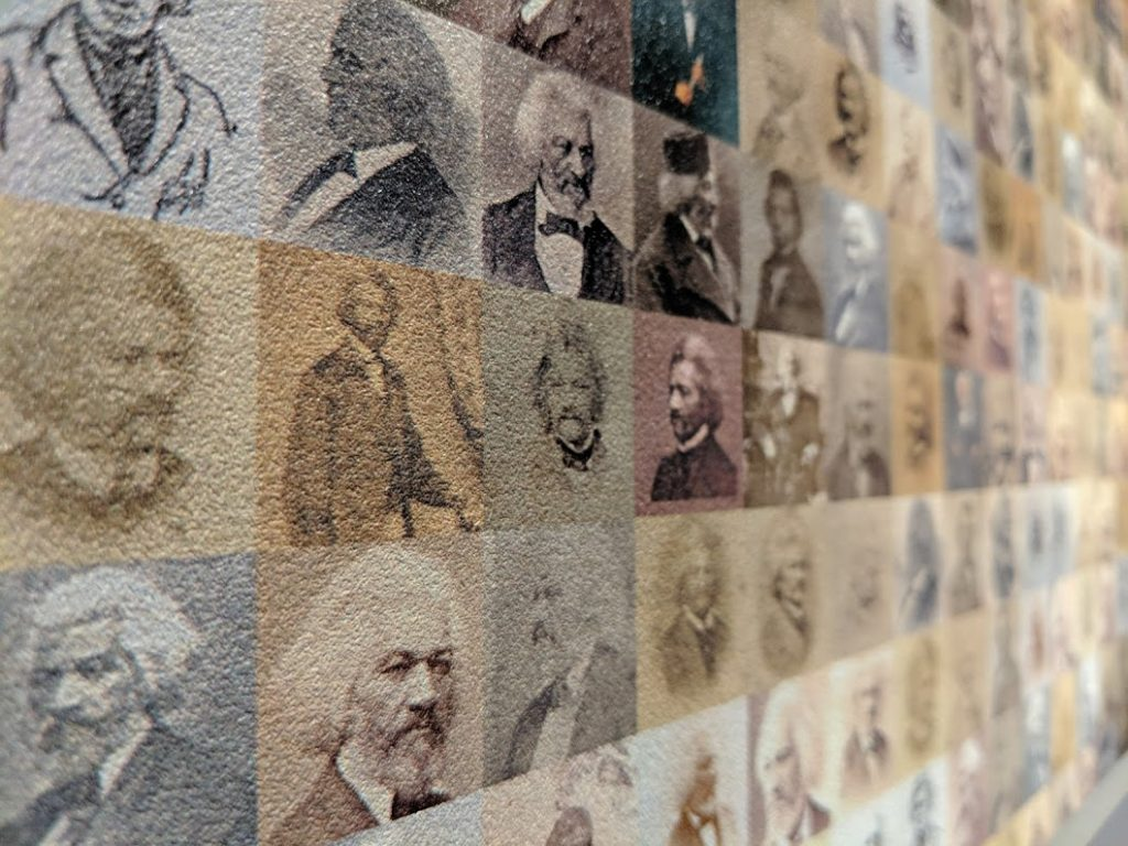 Photo collage of Frederick Douglass