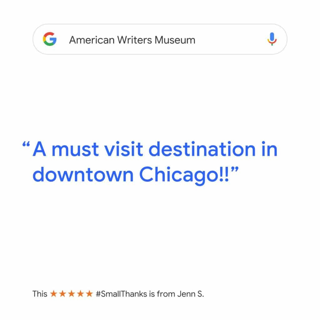 5 Star Google review of the Museum. Click for more information.