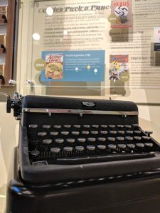 Jerry Siegel's Royal typewriter on display at the American Writers Museum