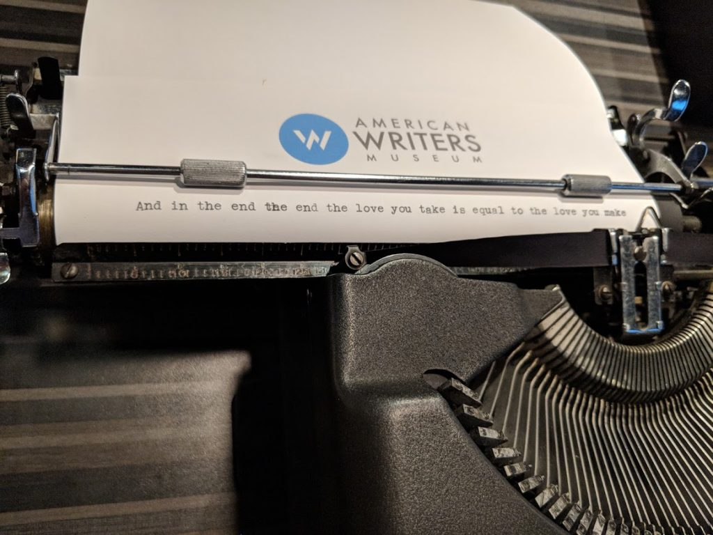 John Lennon's typewriter on display at the American Writers Museum