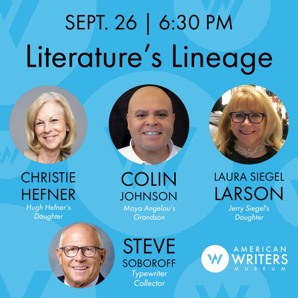Descendants of Hugh Hefner, Maya Angelou, and Jerry Siegel share family stories along with typewriter collector Steve Soboroff at the American Writers Museum on September 26, 2019