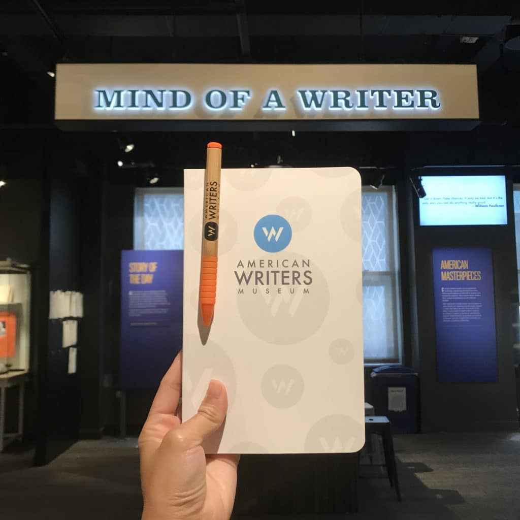 An American Writers Museum notebook and pen set that new and renewing members between 9/3/19-9/10/19 will receive